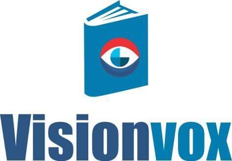 A capa de um livro, com um olho no centro e abaixo escrito Visionvox